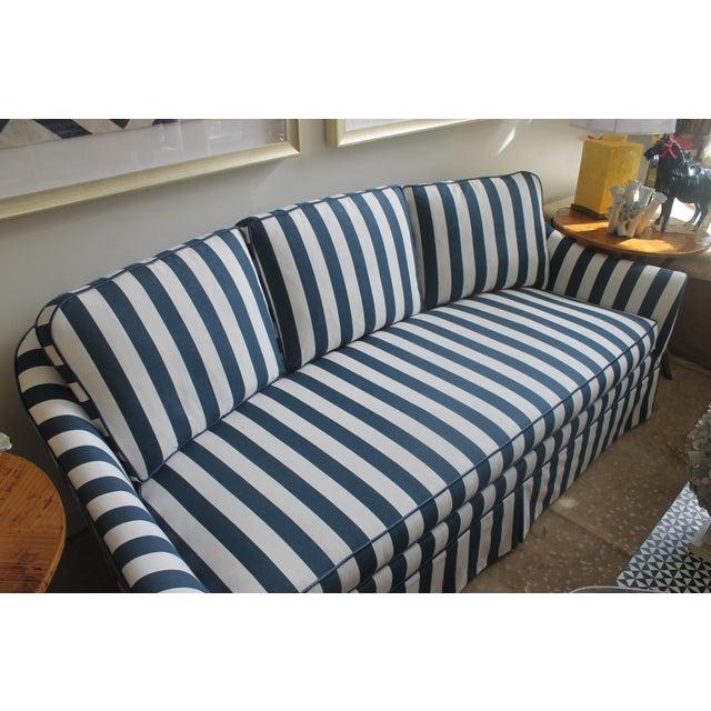 Lillian August Navy White Stripe Sofa - Image 3 of 6