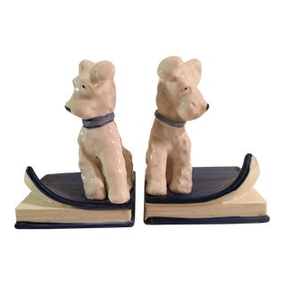 Mid-Century Terrier Bookends - A Pair