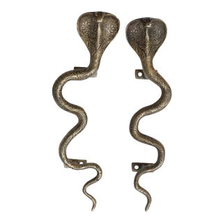 Large Brass Cobra Door Handles - a Pair
