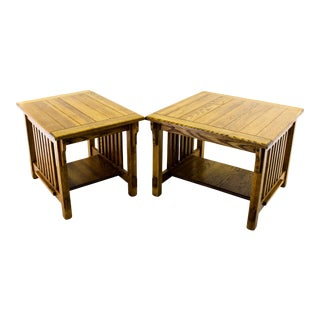 Vintage Oak Two-Tiered Side Tables - A Pair