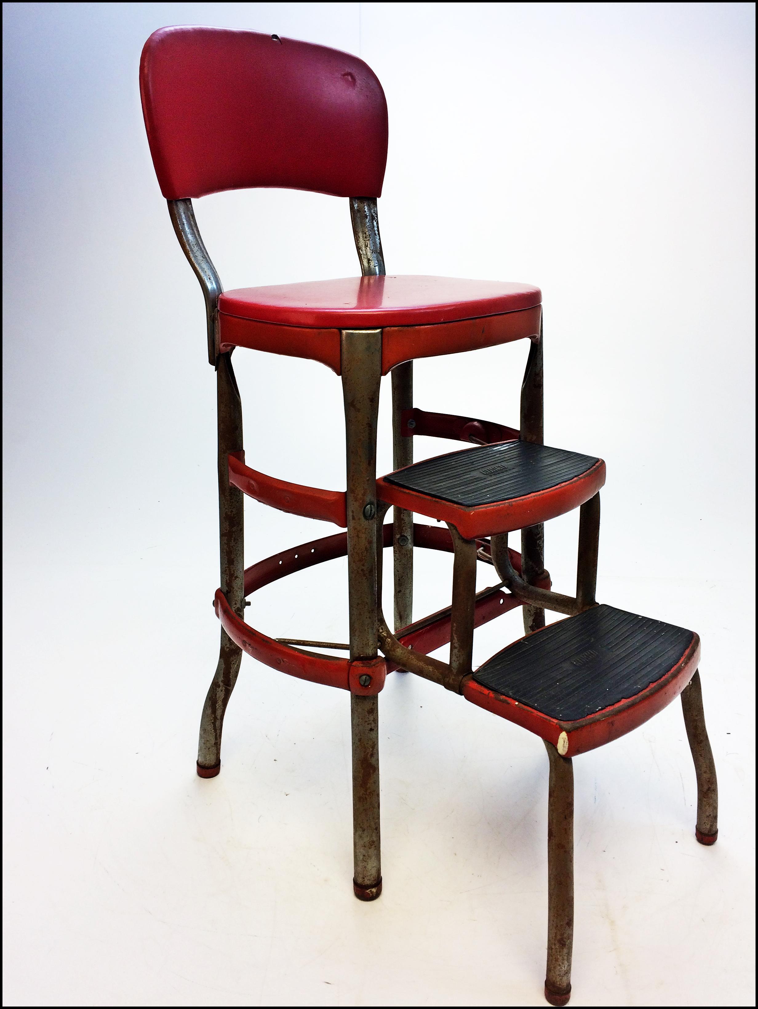 Mid Century Red Vinyl Amp Metal Cosco Step Stool Chairish