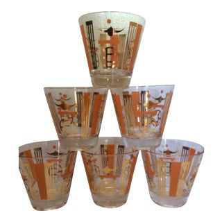 Vintage Stylized Asian Chic Cocktail Bar Glasses - Set of 6