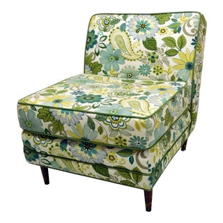 Mid-Century Boho Chic Floral Slipper Chair