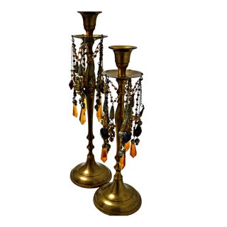 Moroccan Decorative Prism Candelabras - a Pair