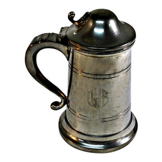 English Pewter Clear Bottom Beer Tankard Mug