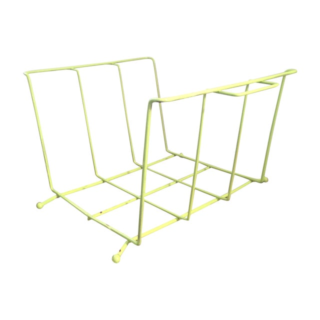 lime green metal magazine record holder chairish. Black Bedroom Furniture Sets. Home Design Ideas