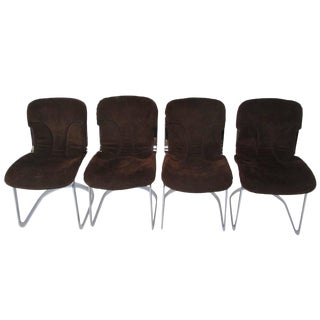 Set of Four Cidue Chrome and Chocolate Suede Italian Dining Chairs