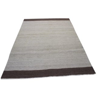 Natural Wool Turkish Kilim Rug - 4′8″ × 6′2″