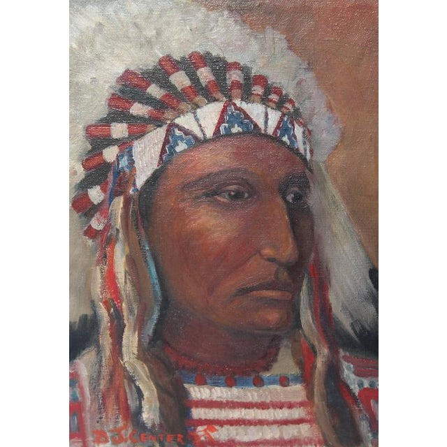 early 20th c. Black Foot Chief Indian oil Painting - Image 3 of 4