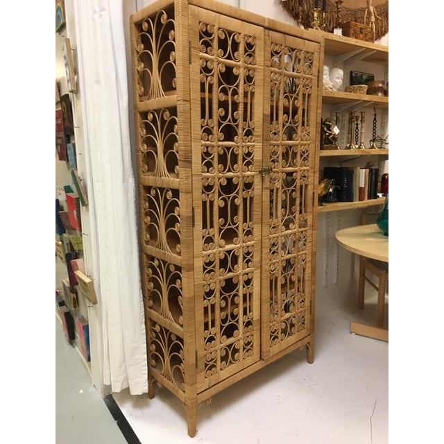 Bohemian Rattan Armoire Cabinet - Image 9 of 10