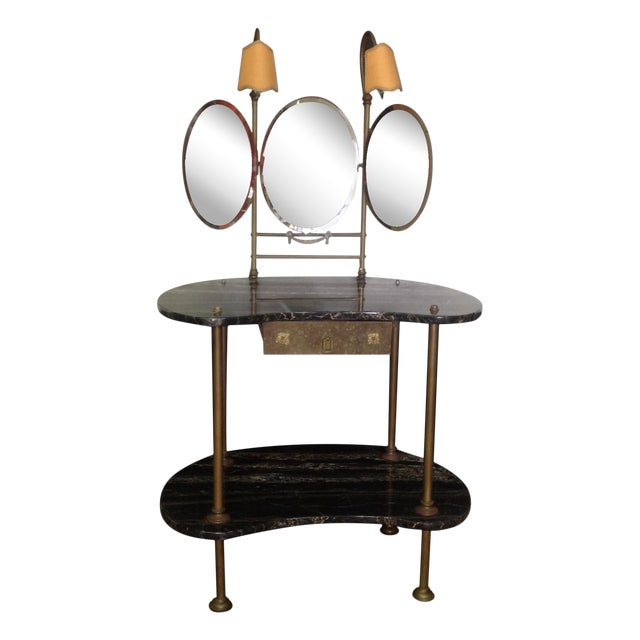 Italian Marble & Brass Lighted Vanity - Image 1 of 11