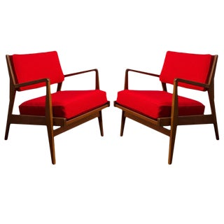 Pair of Jens Risom Solid Walnut Lounge Chairs