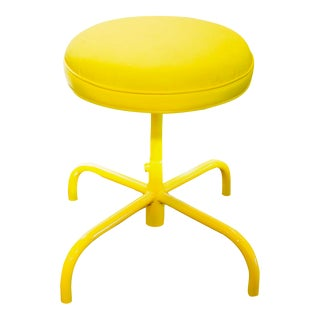 1960s Vintage Electric Yellow Counter Stool