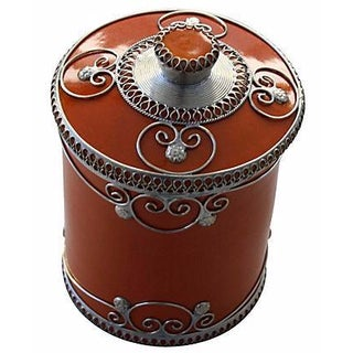 Orange Moroccan Ceramic Jar With Engravings