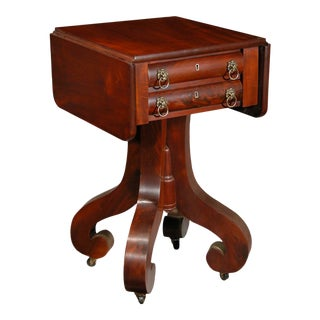 Mahogany Empire 2-Drawer Worktable with Scroll Feet