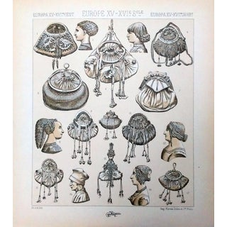 1888 15th C. Hairstyle & Purse Lithograph