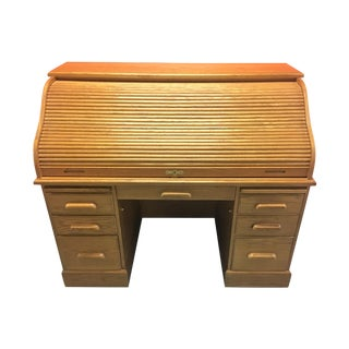 Solid Oak Roll-Top Desk With Keys
