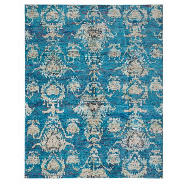 """Hand-Knotted Sari Silk Indian Rug - 7'11"""" X 10'0"""" - Image 1 of 2"""