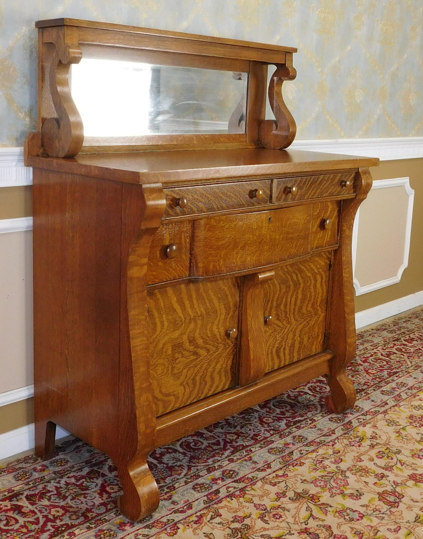Antique Victorian Tiger Oak Empire Style Sideboard Chairish