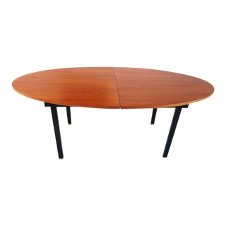 Extendable Oval Dining Table with Teak Top and Brass Feet, Belgium, 1960s
