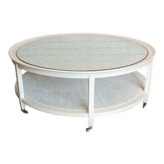 Mid-Century Round White Caned Coffee Table