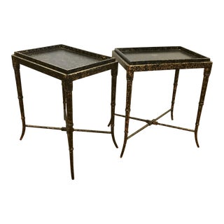 Black Lacquer Tray Tables - A Pair
