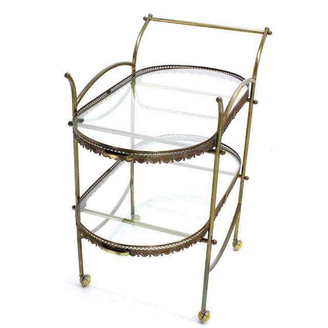 Two-Tier Brass Serving Cart Table with Removable Trays - Image 10 of 10