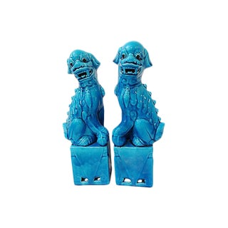 Porcelain Turquoise Foo Dogs - A Pair