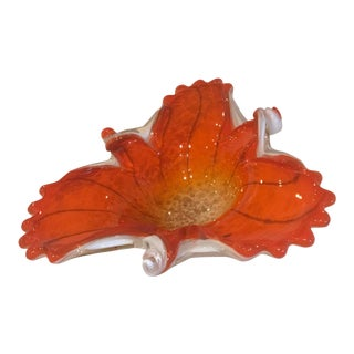 Vibrant Orange Mid-Century Fratelli Toso Murano Art Glass Centerpiece Bowl