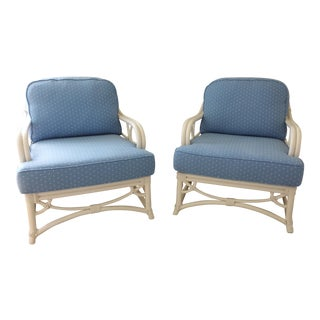 Ficks Reed Blue Armchairs - A Pair