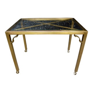 Aged Brass & Glass Table or Desk