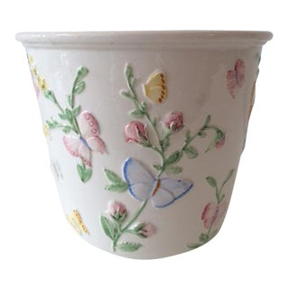 Vintage Orchid & Butterfly Design White Ceramic Cachepot