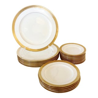 Minton Dinner Plate Set W/ Gold Rim - Set of 26