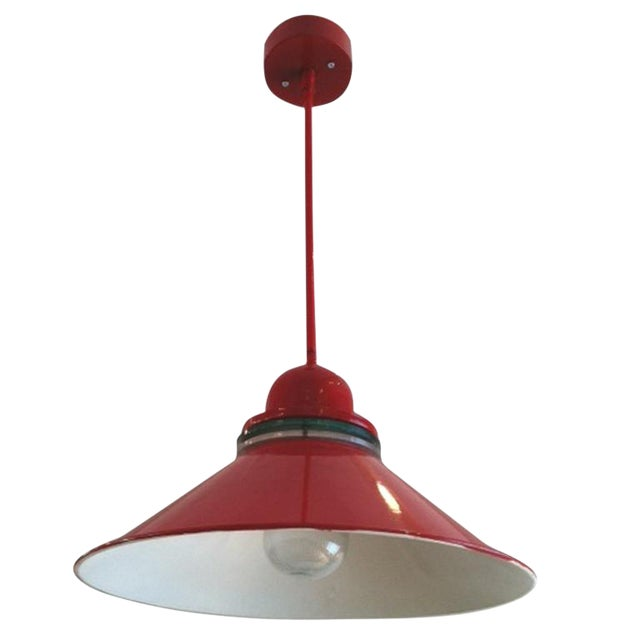 Red Industrial Pendant Lamp - Image 1 of 3