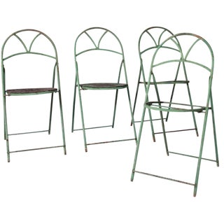 Circa 1890 French Metal Folding Chairs - Set of 4