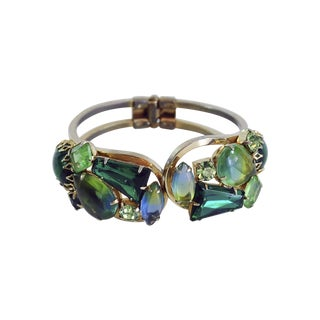 1950s Green Rhinestone Hinged Bangle Bracelet