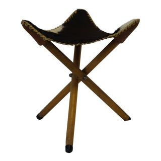 Folding Cow Hide Stool