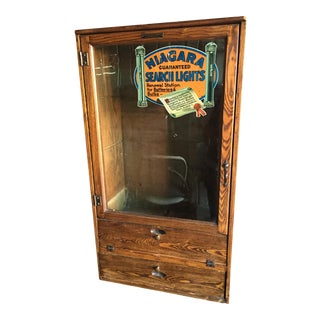 Antique Niagara Guaranteed Search Lights Flashlight Display Cabinet