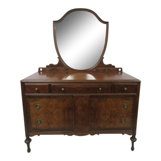 Vintage Burl Wood Dresser With Shield Mirror