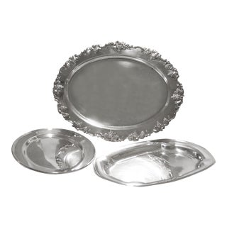 Silverplate Serving Trays - Set of 3