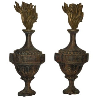 Pair of Hanging French Wall Adornments with Flame Motife