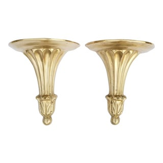 Neoclassical Style Brass Decorative Wall Brackets - A Pair