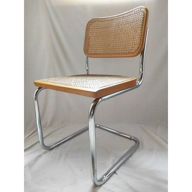 Vintage Marcel Breuer Style Chrome & Cane Chair - Image 2 of 7