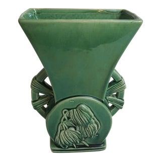 McCoy Green Flower Motif Pottery Vase