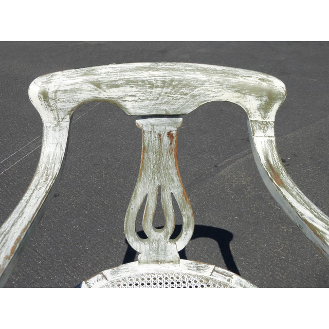 French White Cane Accent Arm Chair on Castors - Image 6 of 11