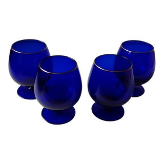 Ralph Lauren Cobalt Blue Brandy Glasses - Set of 4