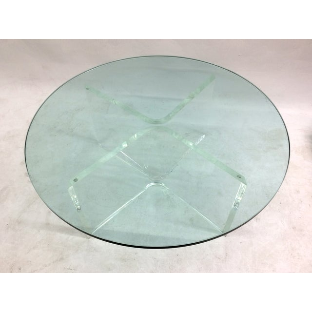 Glass Coffee Table on Bent Lucite Base - Image 6 of 6