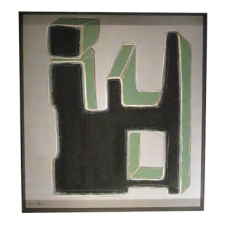 Contemporary Large Vertical Black/Green Painting by French Artist Pierre Malbec