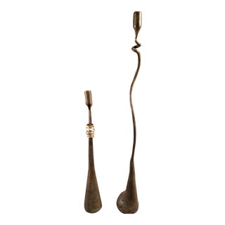 Mid-Century Modern Brutalist Wrought Iron Candle Holders - A Pair
