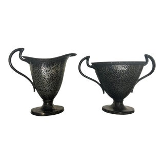 Neoclassical Hand Hammered Silver Sugar & Creamer